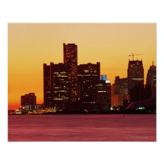 Detroit skyline in colorful sunset poster
