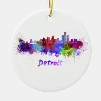 Detroit skyline in watercolor round ceramic decoration