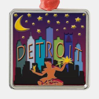 Detroit Skyline Mega Color Christmas Ornament