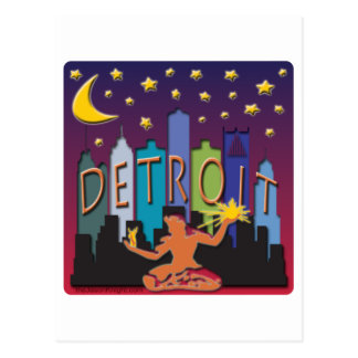 Detroit Skyline Mega Color Postcard