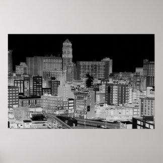 Detroit Skyline Negative Poster