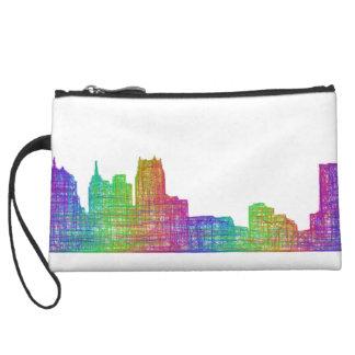 Detroit skyline wristlet purses