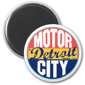 Detroit Vintage Label 6 Cm Round Magnet