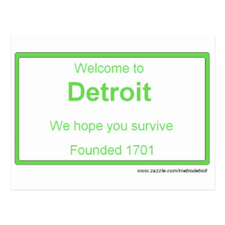 Detroit welcome Postcard