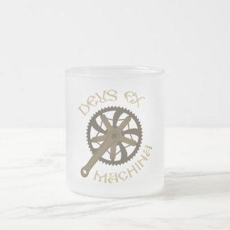 Deus ex machina frosted glass coffee mug