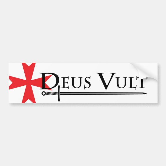 Deus Vult (God Wills It!) Bumper Sticker White