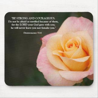 Deuteronomy 31:6 Bible Verse Peach Rose Mouse Mat