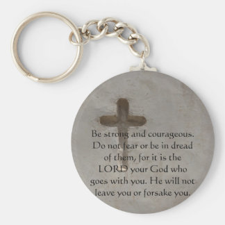 Deuteronomy 31:6 Bible Verses about courage Basic Round Button Key Ring