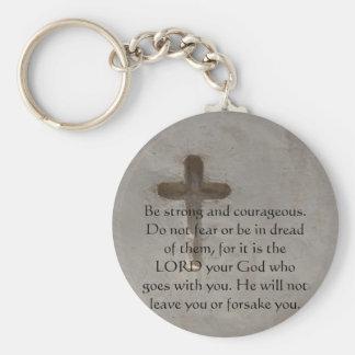 Deuteronomy 31:6 Bible Verses about courage Key Ring