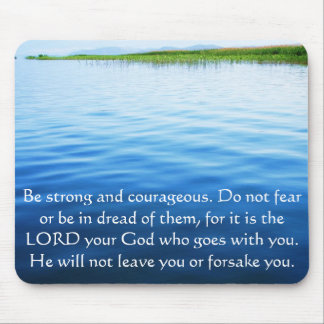 Deuteronomy 31:6 Bible Verses about courage Mouse Mat