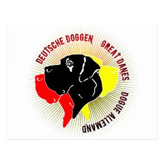 Deutsche Doggen Schwarz Rot Gold Post Cards