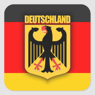 Deutschland Flag and Coat of Arms Square Sticker
