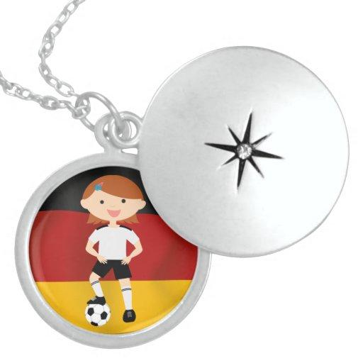 Deutschland Germany Fußball Mädchen 3 Custom Necklace