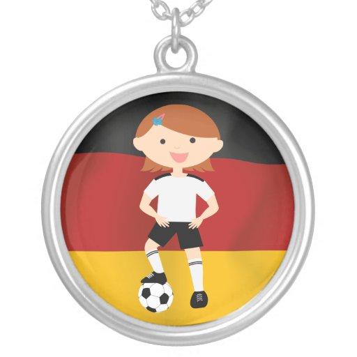 Deutschland Germany Fußball Mädchen 3 Personalized Necklace