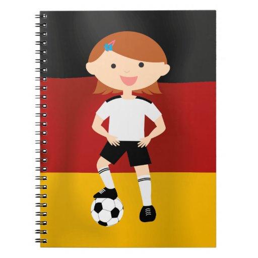 Deutschland Germany Fußball Mädchen 3 Spiral Notebook