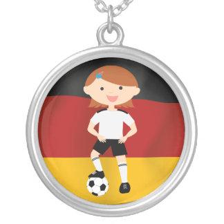 Deutschland Germany Fußball Mädchen 3 Round Pendant Necklace