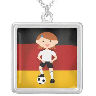 Deutschland Germany Fußball Mädchen 3 Square Pendant Necklace