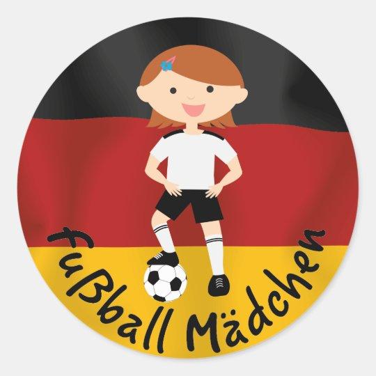 Deutschland Germany Fußball Mädchen 3 v2 Classic Round Sticker