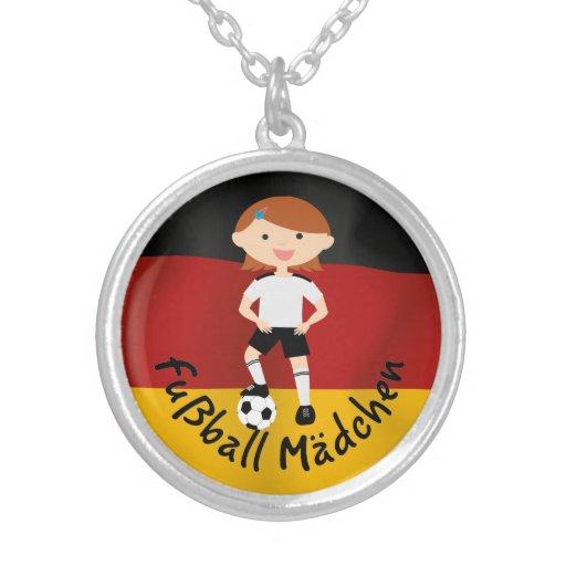 Deutschland Germany Fußball Mädchen 3 v2 Personalized Necklace