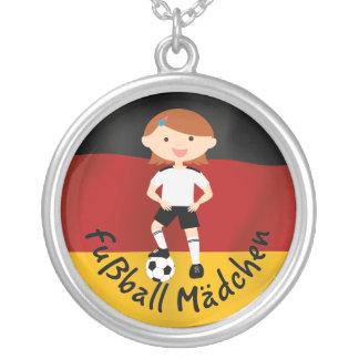 Deutschland Germany Fußball Mädchen 3 v2 Round Pendant Necklace