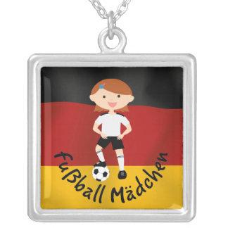 Deutschland Germany Fußball Mädchen 3 v2 Square Pendant Necklace