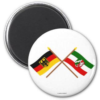 Deutschland & Nordrhein-Westfalen Flaggen gekreuzt 6 Cm Round Magnet