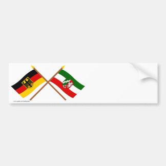 Deutschland & Nordrhein-Westfalen Flaggen gekreuzt Bumper Stickers