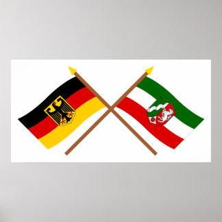 Deutschland & Nordrhein-Westfalen Flaggen gekreuzt Poster