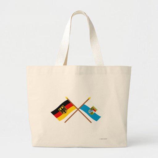 Deutschland und Bayern Flaggen, gekreuzt Canvas Bag