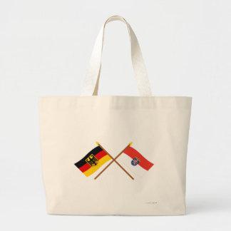 Deutschland und Hessen Flaggen, gekreuzt Tote Bags