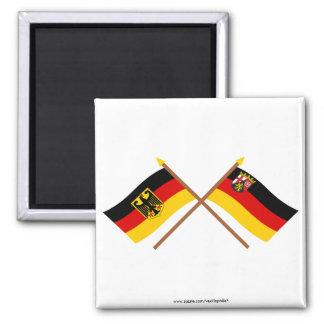 Deutschland und Rheinland-Pfalz Flaggen, gekreuzt Refrigerator Magnets