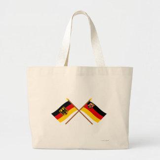 Deutschland und Rheinland-Pfalz Flaggen, gekreuzt Canvas Bag