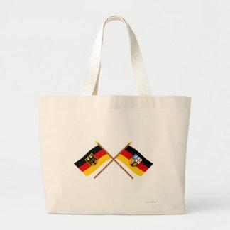 Deutschland und Saarland Flaggen, gekreuzt Canvas Bags