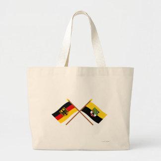 Deutschland und Sachsen-Anhalt Flaggen, gekreuzt Canvas Bag