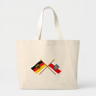 Deutschland und Thüringen Flaggen, gekreuzt Canvas Bags