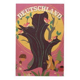 Deutschland vintage cartoon landscape poster wood canvases