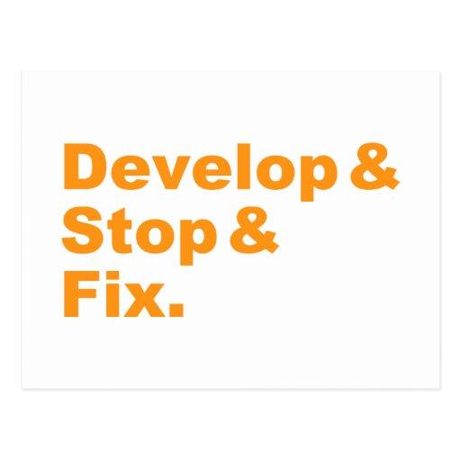 Develop & Stop & Fix Postcard (orange text)
