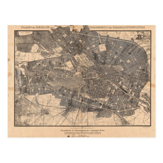 Development Plan Map of Berlin Germany in 1862