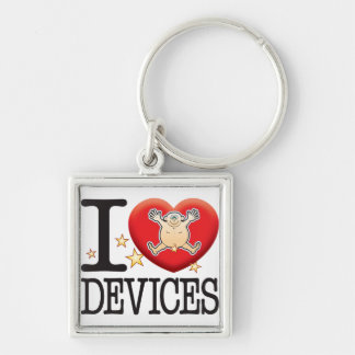 Devices Love Man Silver-Colored Square Key Ring