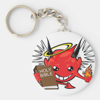 devil / angel smiley face basic round button key ring