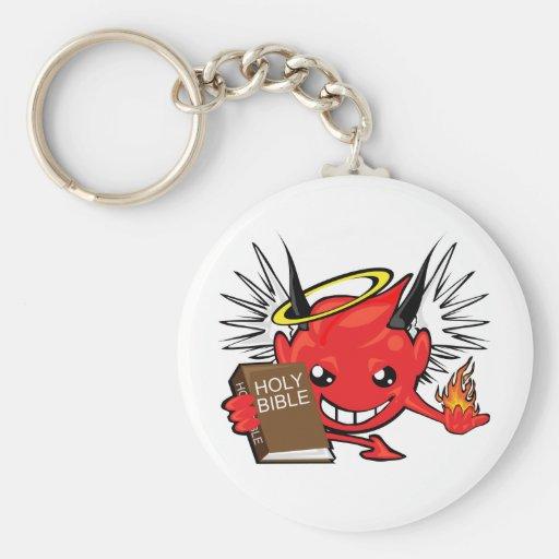 devil / angel smiley face key chain