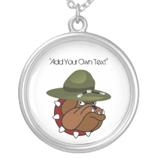 Devil Bull Dog (Add Your Own Text) Round Pendant Necklace