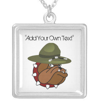 Devil Bull Dog (Add Your Own Text) Square Pendant Necklace
