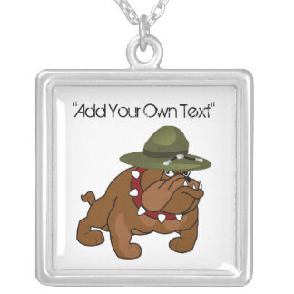 Devil Bull Dog Full Body (Add Your Own Text) Square Pendant Necklace