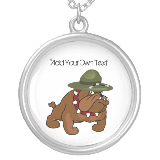 Devil Bull Dog Full Body (Add Your Own Text) Round Pendant Necklace