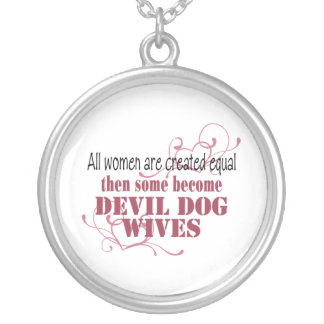 Devil Bull Dog Wives, Created Equal Round Pendant Necklace