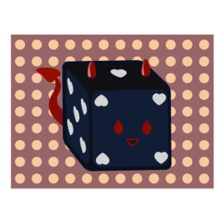 Devil Dice with Hearts Postcard