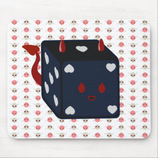 Devil Dice with Hearts Skullie Wings Mouse Pads