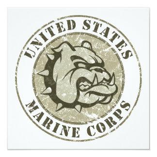 Devil Dog Vintage Emblem 13 Cm X 13 Cm Square Invitation Card