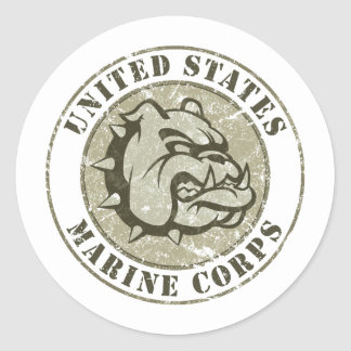Devil Dog Vintage Emblem Classic Round Sticker